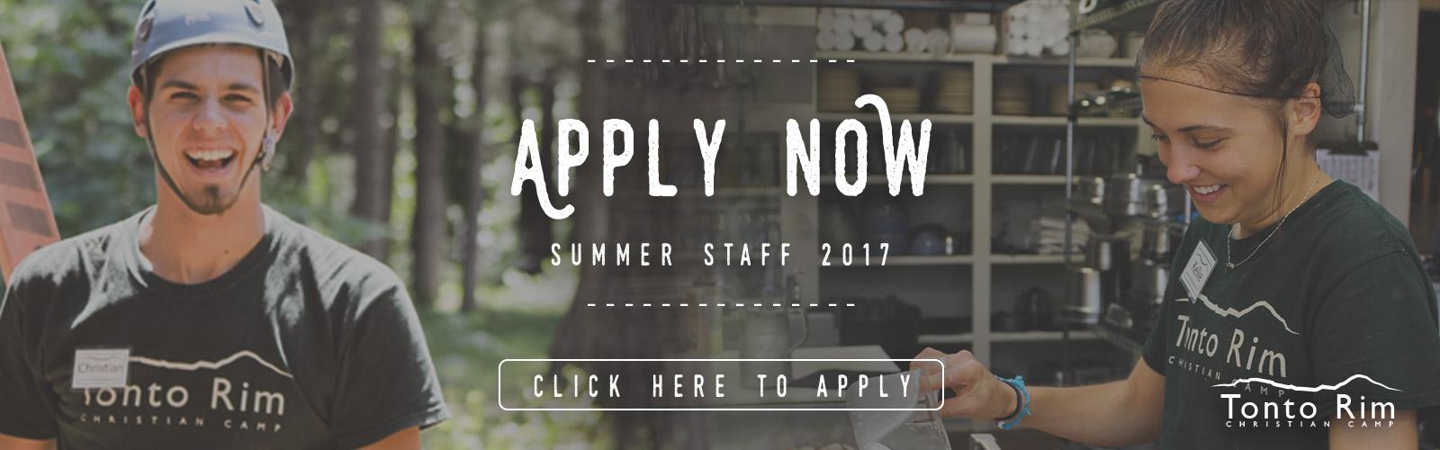 Apply Now - Summer Staff 2016