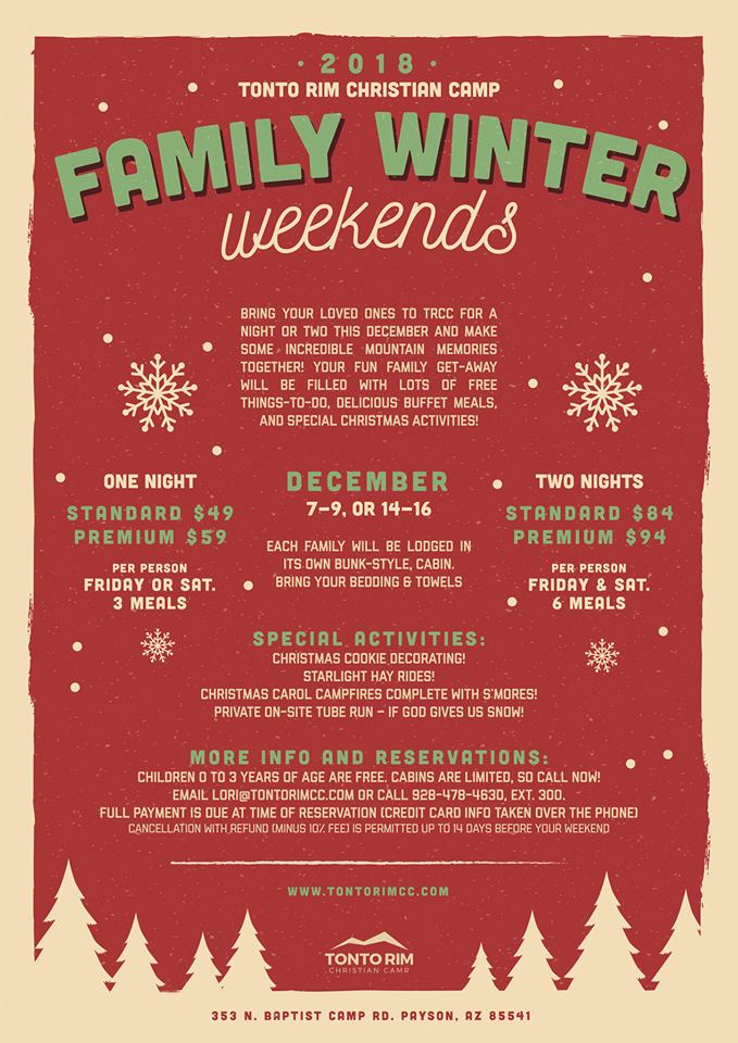 Family Winter Weekends at Tonto Rim Christian Camp